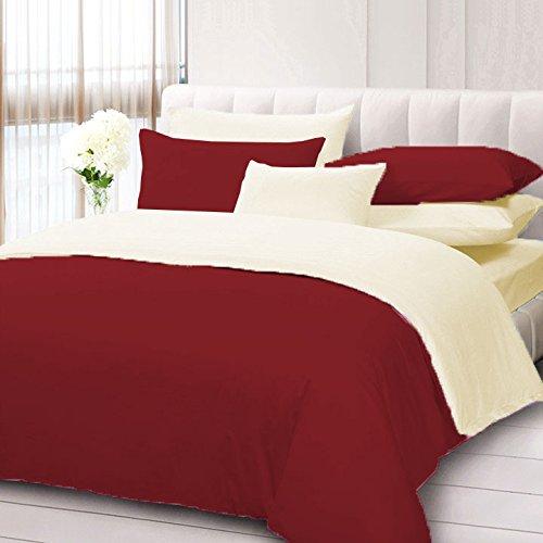 Biancheria da letto, 4 pezzi, reversibile, set copripiumino con lenzuolo con angoli in cotone egiziano 600 TC per letto matrimoniale e bordeaux egiziano/avorio