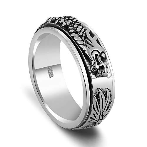 Aienid Herrenring Silber 925 Drehring Chinesischer Drachen Ring Ring für Männer Size:58 (18.5)