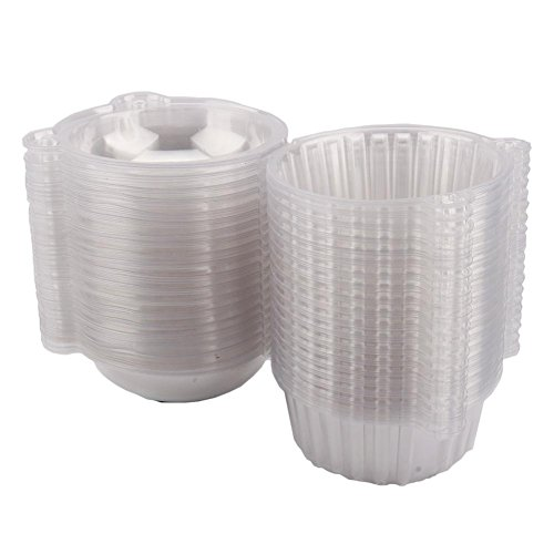 100 pcs Plastic Single Individual Cupcake Containers, Disposable Plastic Fruit Holder Container Dome Box