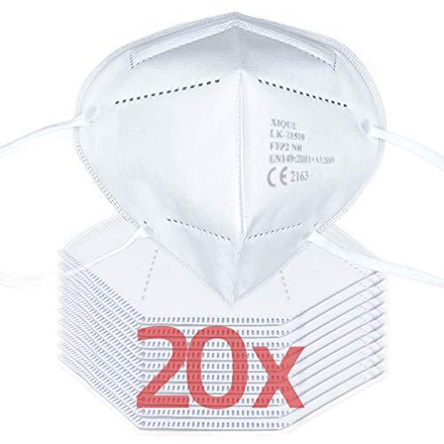 Facetex 20er Pack FFP2 Maske Mundschutz   CE zertifizierter Mund und Nasenschutz, CE2163, 3-lagig mit Vlies-Filter   Atemschutzmaske Staubmaske Atemmaske Staubschutzmaske, auch für Brillenträger