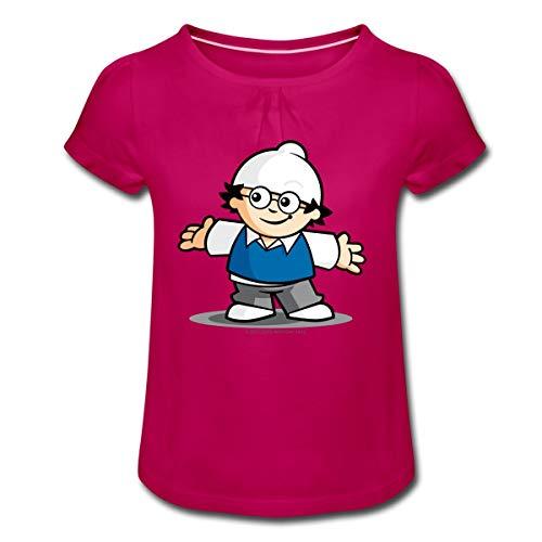 Mainzelmännchen Det Mädchen T-Shirt mit Raffungen, 4 Jahre, Fuchsia