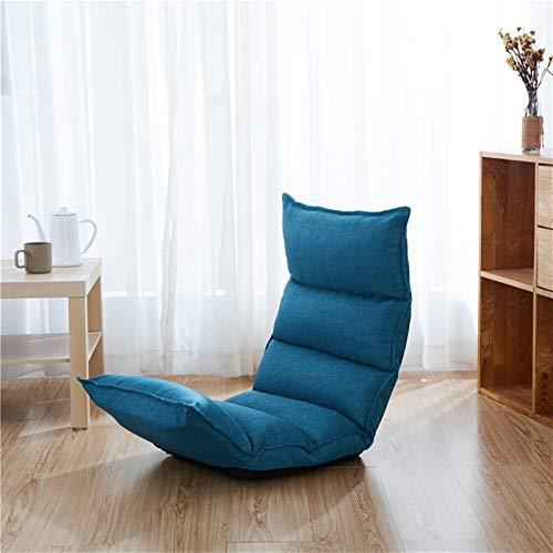 ZIJ Klappbarer Sitzsack für Sofas, Schlafsaal, Balkon, Mittagspause aus Leinen, hochwertig, Schlafzimmerstuhl (Farbe: Blau)