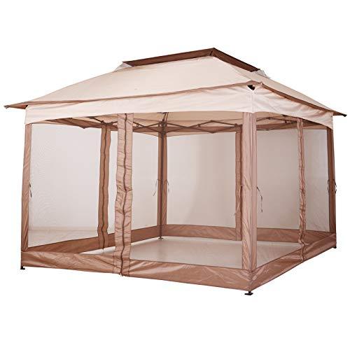 Outsunny Pavillon Faltpavillon Gartenzelt mit Seitenwänden Popup Khaki 3,25x3,25x2,95cm