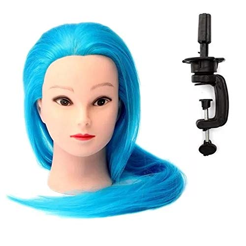 HAIMENG Jefe de Formación Azules Tejidas Salones De Belleza Sintéticos Modelo Cosmético De Los Cabellos Modelo De La Cabeza Modelo De Formación Pinza Maniquí de Pelo de la muñeca