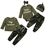 Baby Boy Girl Brother Sister Matching Outfits Little Sister Long Sleeve Romper+Camouflage Pants+Hat+Headband 4Pcs Clothes Set (Little Sister, 0-3 Months)