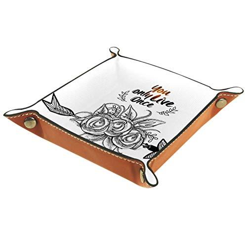 FURINKAZAN Bandeja de valet para cambio de mesita de noche, caja de almacenamiento inspiradora, diseño de flores