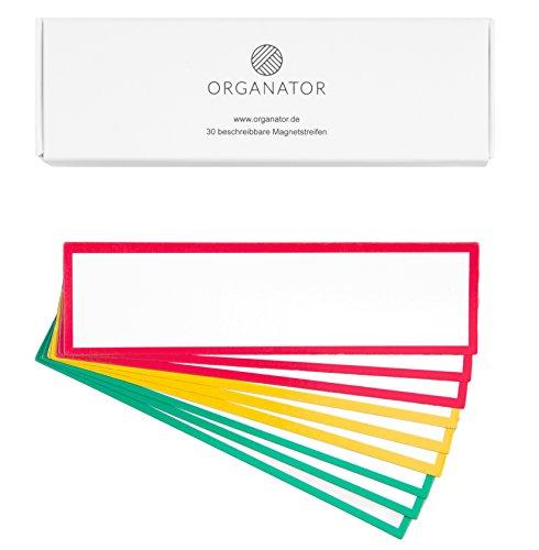 30 beschreibbare Magnetstreifen in rot-gelb-grün - Magnetschilder 11 cm x 3 cm - Whiteboard Zubehör - Magnete - Kühlschrankmagnete - Lagerbeschriftung - Wochenplaner