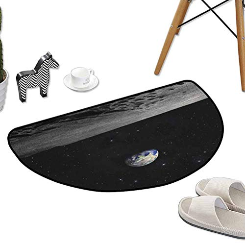 Office Chair Floor Mat Foot Pad Planet Earth As Seen from The Moon Outer Space Milky Way Quiet Night Sky Galaxy W30 x L18 Half Round Best Floor mats