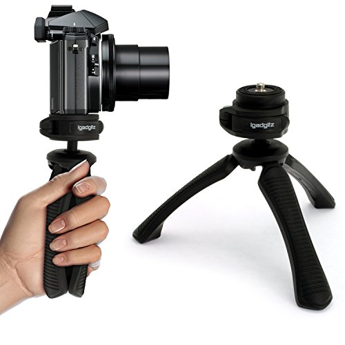 igadgitz U4330 Mini Lightweight Table Top Stand Tripod and Grip Stabilizer Compatible with Digital Cameras, DSLRs, Video Cameras & Camcorders - Black