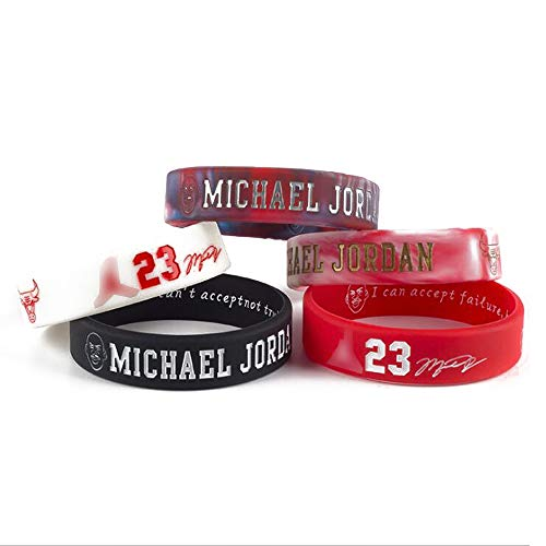 Lorh's store NBA Basket Michael Jordan Ritratto Braccialetto Numero 23 Silicone Parola Inspirational Sport Wristband 5 Pezzi