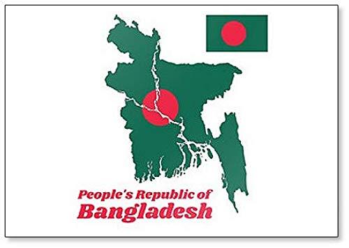 Kühlschrankmagnet, Motiv Karte & Flagge von Bangladesch