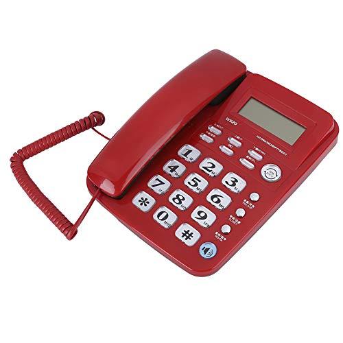Aoca Teléfono Fijo, para el hogar, Oficina, Negocios, identificación de Llamadas, teléfono Fijo con Manos Libres, Voz Clara para Llamadas, marcación rápida con Dos Teclas, Simple y Conveniente(Rojo)