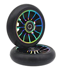 Here you get high-quality replacement wheels made of CNC machined aluminum and strong high-rebound 88A PU. Package includes 2pcs*100mm scooter wheels and complete with our fast rolling and high precision ABEC-11 Bearings. Simply install, drive off, r...