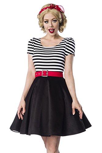 Sexy Kleid Rockabilly 50er Retro Rundhals Retrokleid 1950s Puffärmel Jersey Gürtel Schwarz Weiß Rot Gestreift Streifen, Farbe:Schwarz/Weiß;Größe:S
