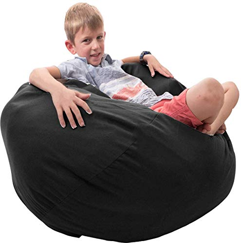 Bean Bag Covers Only Black Premium Cotton Canvas Chair for Stuffed Toys Animals Storage Perfect Storage Solution for Pillows Toys Blankets Stuffed Toys Capacity (Black, 30)