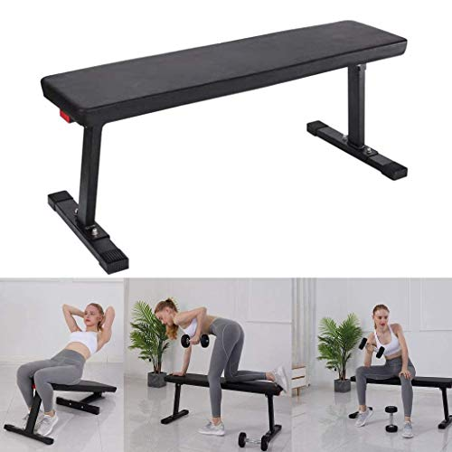 Utility Weight Bench for Full Body Workout, Multi-Purpose Foldable Flat Bench Home Fitness Exercise Equipment, Sit Up Bench Weight Training and Abdominal Training Folding Bench for Home Gym (Black)