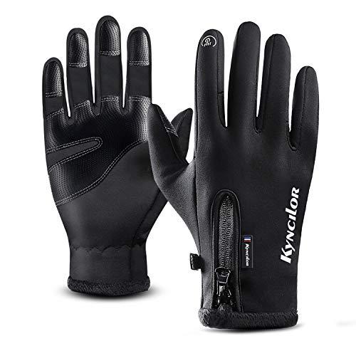 T98 Touchscreen Handschuhe, Fahrradhandschuhe Laufhandschuhe Winter Warme Sporthandschuhe Herren Damen Winddicht Wasserdichter Winterhandschuhe für Radfahren, Wandern, Skifahren (Black, M)