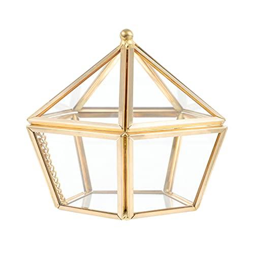 TomaiBaby Caja de de Joyería de Cristal Soporte de Baratija de Joyería Geométrica Pirámide Pentagonal Organizador de Joyas Pulsera Collar Soporte de Almacenamiento