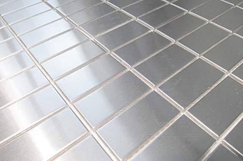 Edelstahl Mosaik Fliesen Matte in gebürstetem Silber (MT0037)