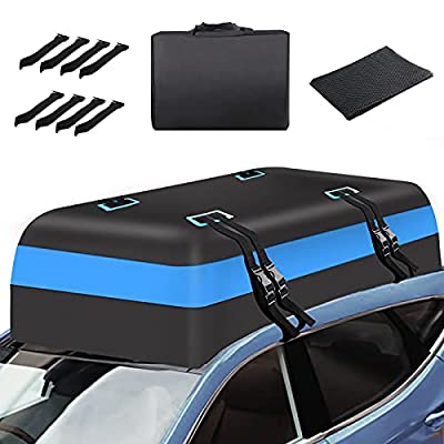Car Roof Bag Rooftop Cargo Carrier —21 Cubic Feet Car Roof Duffel Bag with Storage Bag and Non-Slip Mat, Waterproof Soft Car Storage Bag Fits for All Vehicles with/Without Rack Vans & SUV