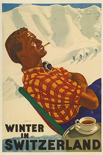 Winter in Switzerland - Vintage Swiss Travel Poster (14 x 18)