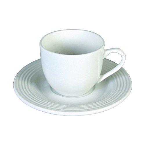 Tognana Polis Circles Confezione 6 Tazze da caffè con Piattini, Porcellana, Bianco