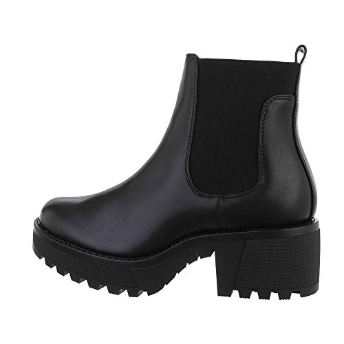 Ital Design Damenschuhe Stiefeletten Chelsea Boots, D-2N-, Kunstleder, Schwarz, Gr. 40