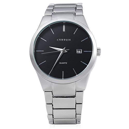 IF.HLMF - Reloj de pulsera para hombre, correa de acero, resistente al agua, con hebilla de herradura, esfera redonda, grande, reloj deportivo y de ocio