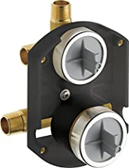 Monitor pressure balance valve keeps water temperature within a safe +/-3Degree F (+/-1.6Degree C), helping to protect you from sudden changes in hot or cold water pressure Rough-in only One-piece forged valve body without Stops Back-to-back installa...
