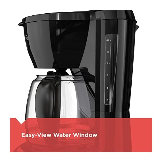 BLACK+DECKER DLX1050B 12-cup Programmable Coffee Maker with glass carafe, Black 6 QuickTouch Programming - Easily program the 24-hour auto brew feature so you can wake up to a fresh pot of coffee Digital Controls with Rubberized Feel - Large, rubberized buttons give you full control of the coffeemaker, and the easy-read screen displays the clock, brew time, and programming options Sneak-a-Cup - This feature temporarily stops the flow of coffee so you can pour your first cup before brewing ends without making a mess