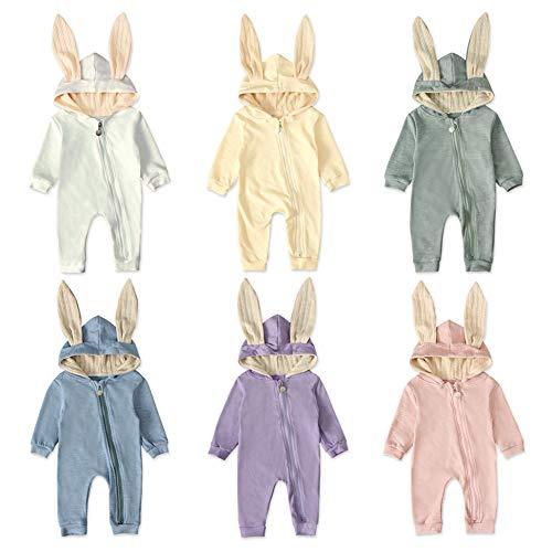 EITC – Overol de Manga Larga con Capucha para bebé, Unisex, diseño de Conejo, Azul, 18-24 Meses