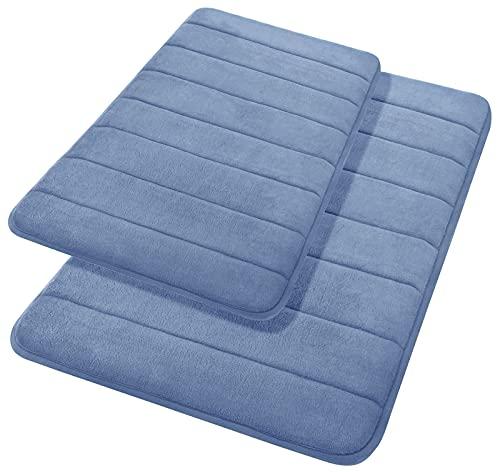 Yimobra 2 Pieces Memory Foam Bathroom Mat Set, Non Slip - Super Water Absorption Soft Bath Mats Rugs, Thick, Dry Fast, Machine Washable for Bathroom Floor Rug, 17x24+31.5x19.8 Inches, Denim Blue