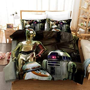 POMJK Juego de ropa de cama de Star Wars C-3PO, funda nórdica R2-D2 BB-8, diseño de robot de 3 piezas (A01, 135 x 200 cm + (80 x 80 cm) × 2)