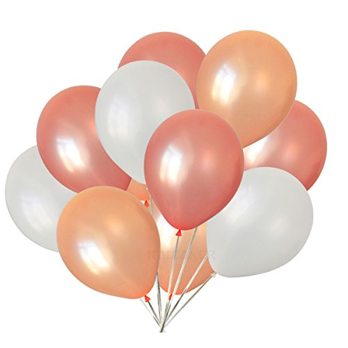12 inch pearl latex balloons white and rose gold and champagne gold balloons 30 pcs