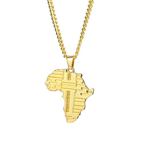 Hip Hop Women/Men Charm Kaart van Afrika Hangers Kettingen Aarde Sieraden Cadeau, Goud, 70cm