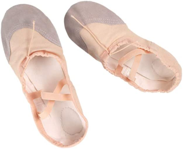 Healifty 1 Pair Leather Ballet Canvas Shoes Ballet Full Sole Slippers Dance Shoes Yoga Shoes for Kids Women Dancing Practice Beige Size 34