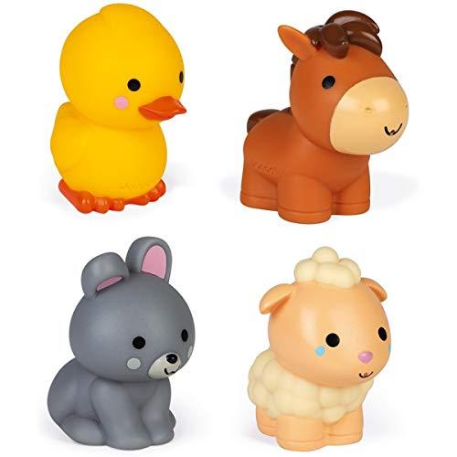 """Janod J04702 1 Wasserspritzer """"Bauernhoftiere"""", 4 Stück Badespielzeug für Babys und Kleinkinder-Ab 10 Monaten"""