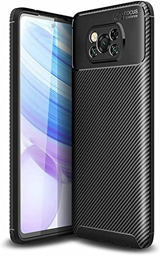 BNBUKLTD® Compatible con Xiaomi Poco X3 NFC Funda de gel de fibra de carbono a prueba de golpes y lápiz capacitivo