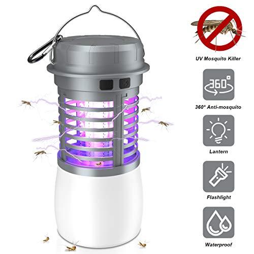 JBHOO Lámpara Antimosquitos, Lámpara Camping Antimosquitos UV Impermeable Portátil 2 en 1 Lámpara de Mosquitos Luz de Camping lámpara de Asesino Recargable para Acampar Interior al Aire Libre