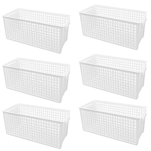 QLOUNI Juego de 6 cestas de almacenaje de plástico cestas baño almacenaje...