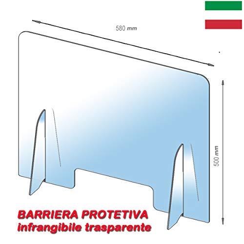 Barriera Protettiva Parasputi Parafiato Separatore per Banconi 58x50cm - Realizzato Policarbonato trasparente - Pannello di Protezione da Banco per Farmacie, Uffici, Negozi, Supermercati e Bar
