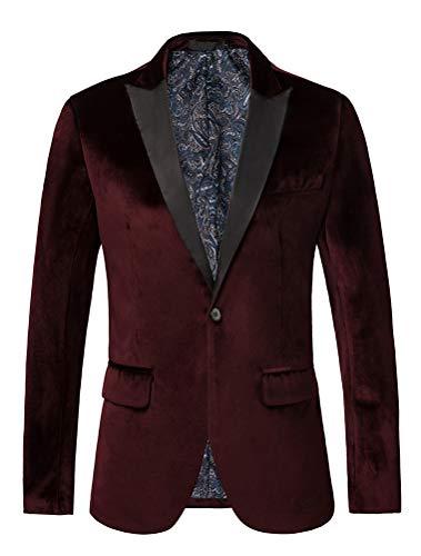 THWEI Mens Velvet Blazer Slim Fit Solid Blazer Sport Coat (XXL, Burgundy)
