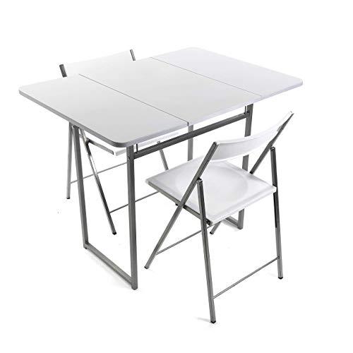 Versa 19840050 Mesa Plegable con Dos sillas Brenna con Respaldo para Cocina, Comedor, balcón o terraza en Color Blanco de Metal, PVC y Madera, 100 x 70 x 80 cm ⭐