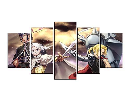 MXYXD Leinwanddrucke,Anime Fullmetal Alchemist 5 Stück Wohnzimmer Wandkunst Modular Leinwand Poster Wohnkultur Stil B Mit Rahmen