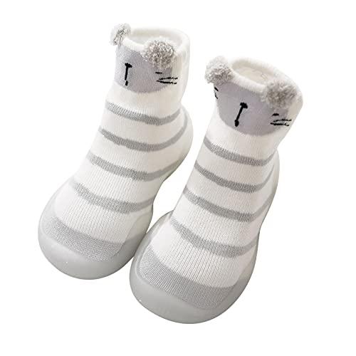 Zapatos para bebé de 0 a 6 meses, zapatos para aprender a andar, para niños, para otoño, para interior, calcetines antideslizantes, con diseño de rayas, suela suave, Blanco, 24 EU