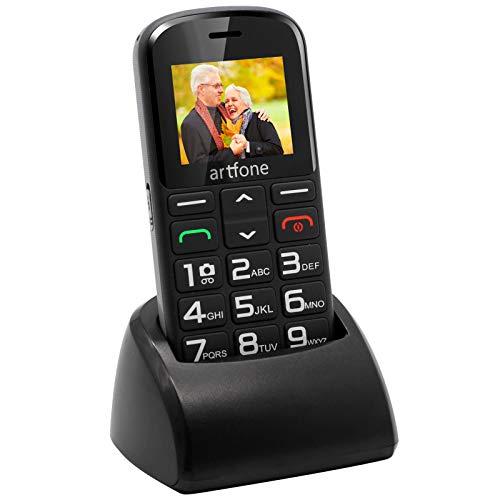 Téléphone Senior 2G GSM avec Grandes Touches,Téléphone Portable Débloqué avec Bouton SOS Appareil Photo Lampe Torche et Base de Chargeur Facile à Utilizer pour Senior – Artfone CS182 Noir