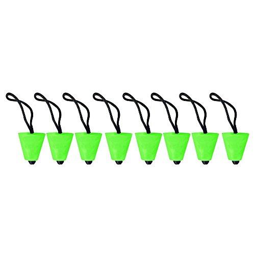 Juego de 8 Tapones de Caucho para desagüe de Kayak, Tapones de Goma comprimibles con cordón para agujeros de kayak scupper entre 3/4 'de a 1.5' pulgadas Verde