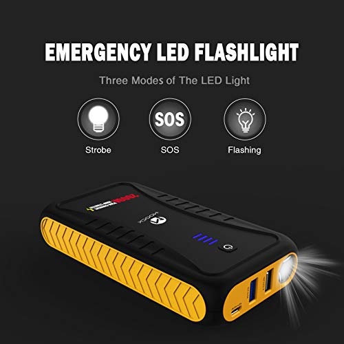 MOOCK 2000A Peak 18000mAh Car Jump Starter(Up to 7.0L Gas or 4.5L Diesel Engine), 12V Auto Battery Booster Portable Power Pack, Built-in LED Flashlight with Jumper Cables Heavy Duty