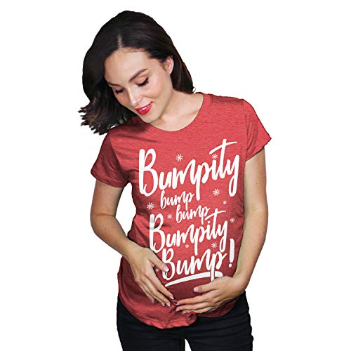 Crazy Dog T-Shirts Maternity Bumpity Bump Bump Pregnancy T Shirt Funny Christmas Baby Announcement (Heather Red) - S