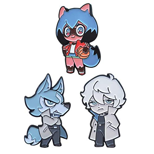LoneFox 3PCS BNA Animal Shirou Ogami Wolf Michiru Kagemori Hard Enamel Pin Badge